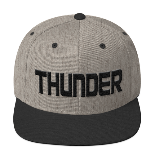 THUNDER 3D Puffy Embroidered Snapback Hat - Heather Gray