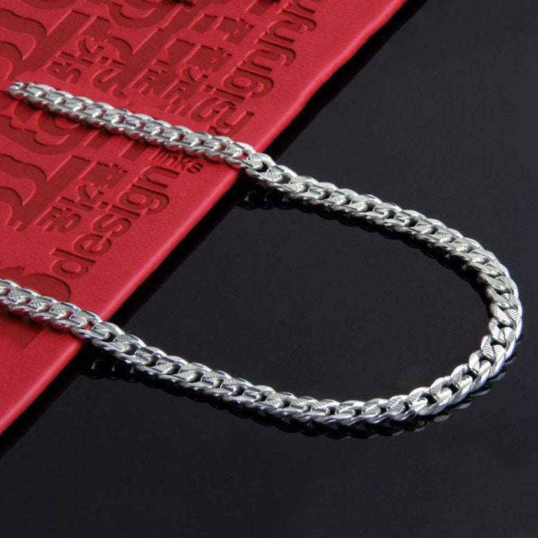 Pure 925 Sterling Silver chain 7mm link, top quality fine Jewelry