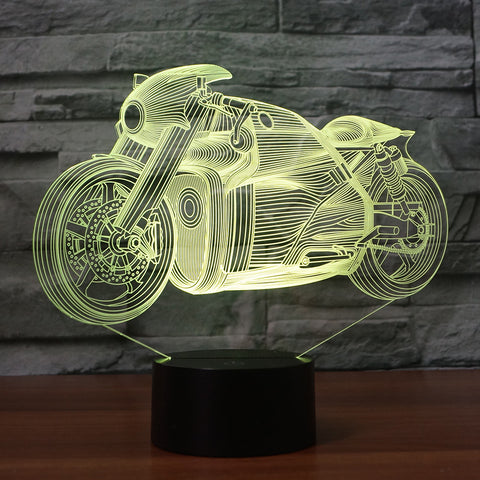 3D Illusion Night Light  LED Light 7 Color with Touch Switch USB Cable Nice Gift Home Office Decorations, Harley