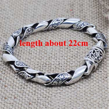 8MM Mens Biker Bracelets (925 Sterling Silver)