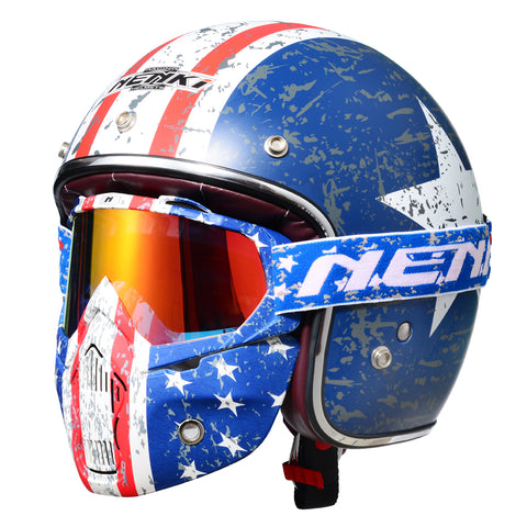 Open Face 3/4 Helmet with Patriot Goggles & Mask DOT