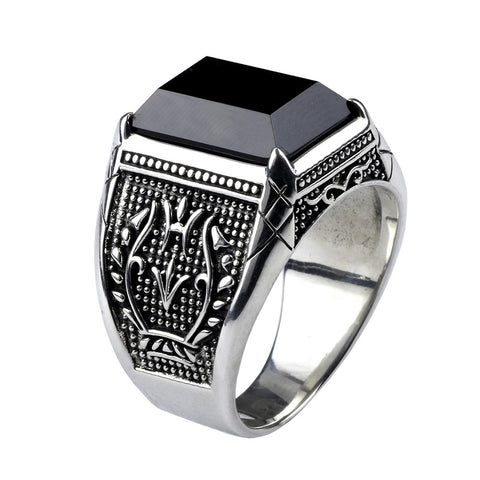 Vintage Black Natural Stone (925 Sterling Silver)