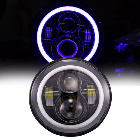"7"" Blue Halo LED Headlights Daymaker"