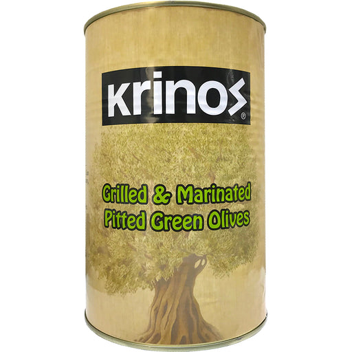 Krinos Grilled Pitted Green Olives (Tin)