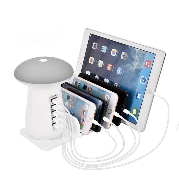 Multi Device Charging Station - LED Lamp, Phone Organizer And Multi-USB Charging Station