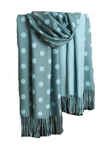Scarf - Polka Dotted Cashmere Long Tassel Scarf