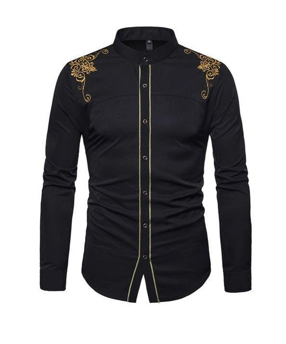 Men's Shirt - Men's Long Sleeve Slim Fitting Embroidery Dress Shirt