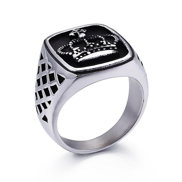 Fashion Ring - Crown Engraved Stainless Steel Biker Ring