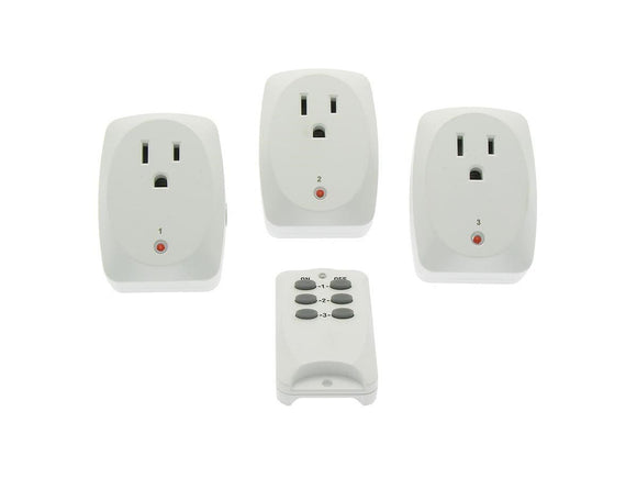 Remote Controlled Wall Outlet - Three (3) Pack Indoor Remote Controlled Power Socket, Wireless Control Switch Outlet (ships Within The US Only)