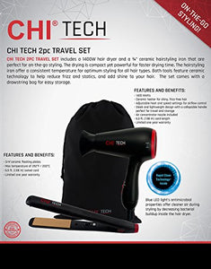 CHI Tech Hair Dryer and Ceramic Hairstyling Iron - 2 Piece Travel Set