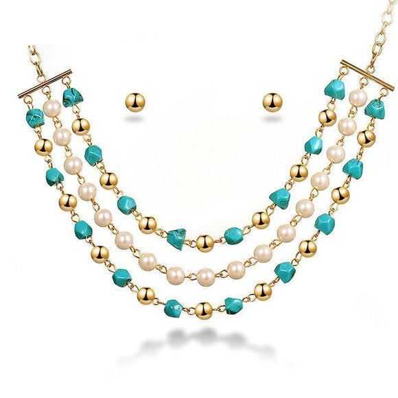 Fashion Jewelry Set - Multilayered Pearl Necklace And Earrings Set
