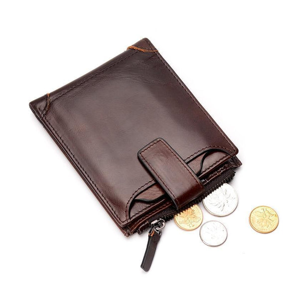 Leather Wallet - Men's Genuine Cowhide Leather Wallet