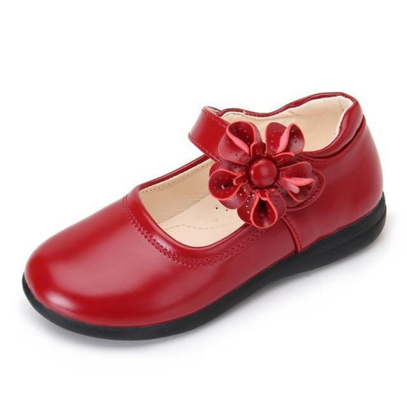 Girls Shoes - Flower Buckle Leather School Shoes For Girls