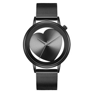 Watches - Creative Hollow Analog Black Stainless Steel Mesh Wristwatch