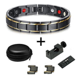 Energy Bracelet - Magnetic Black Plated Stainless Steel Energy Germanium Bracelet