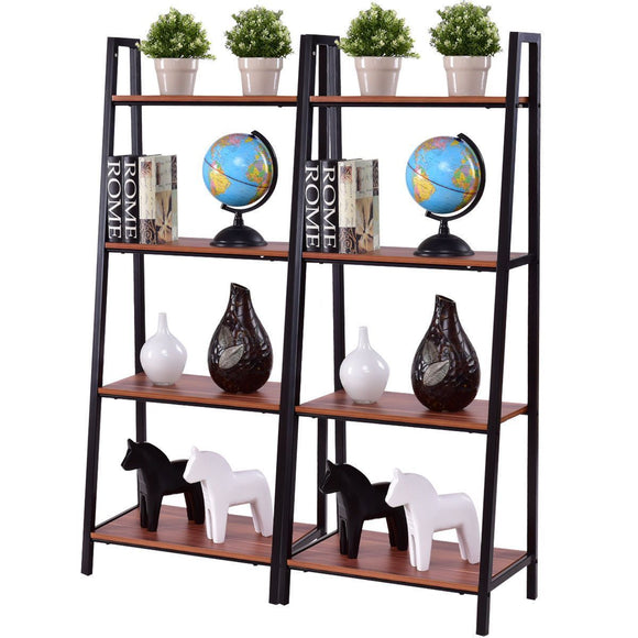 Ladder Bookshelf - Two (2)Piece 4-Tier Modern Ladder Storage Bookshelf