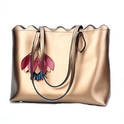 Handbag - Genuine Leather Large Capacity Metallic Tote Bag
