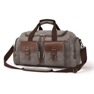 Duffel - Leather And Canvas Duffel Traveling Bag