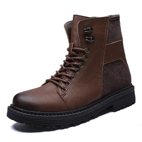 Men's Boots - Men's Patchwork Leather Martin Boots