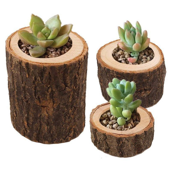 Wood Flowerpot - Handcrafted Natural Fir Wood Flowerpot