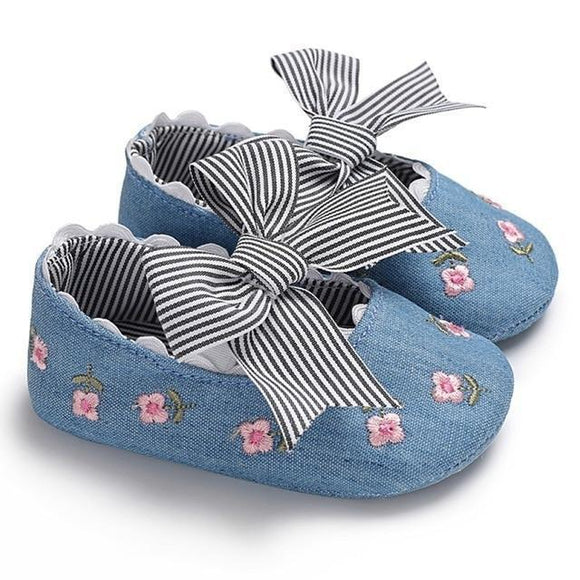 Baby Shoes - Flower Embroidered Baby Girl Denim  Shoes With Bow