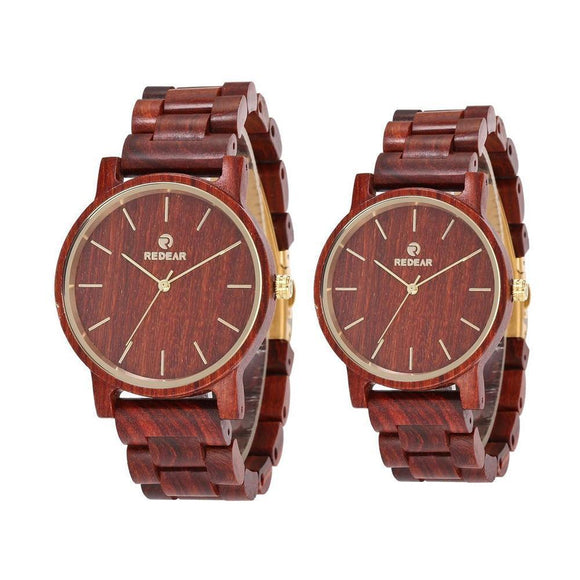 Couple Wristwatch - REDEAR His And Hers Red Sandalwood Quartz Wristwatch