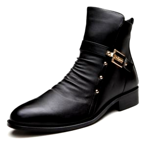 Men's Shoes - Genuine Cow Leather Motorcycle Boots