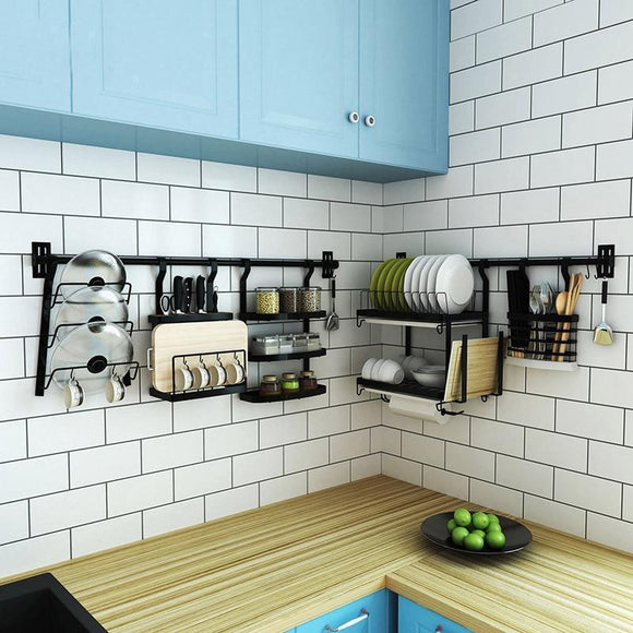 Stainless Steel DIY Wall Hanging Kitchen Racks and Organizer