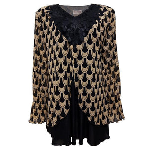 Blouse - Plus Size Flare Long Sleeve Top