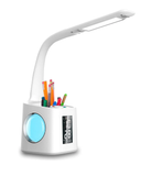 Desk Lamp - LED Desk Lamp With USB Charging Port, Digital Clock, Calendar, Dim-able Night Light And Pen Holder