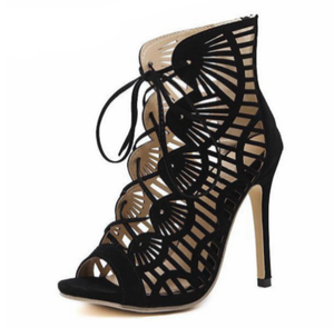 Women's Shoes - Casual Peep Toe Lace Up Cutout High Heels