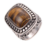 Men's Fashion Ring - Simulated Tiger's Eye Stone 925 Sterling Silver Ring For Men