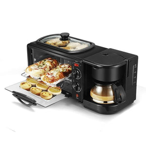 3-in-1 Electric Breakfast Machine, Multifunction Coffee, Maker Frying Pan and Mini Oven