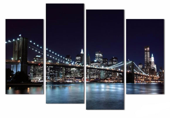 Canvas Wall Picture - Four (4) Piece Modern Wall Painting Of New York Brooklyn Bridge