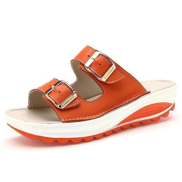 Sandals - Genuine Leather Casual Buckle Clogs