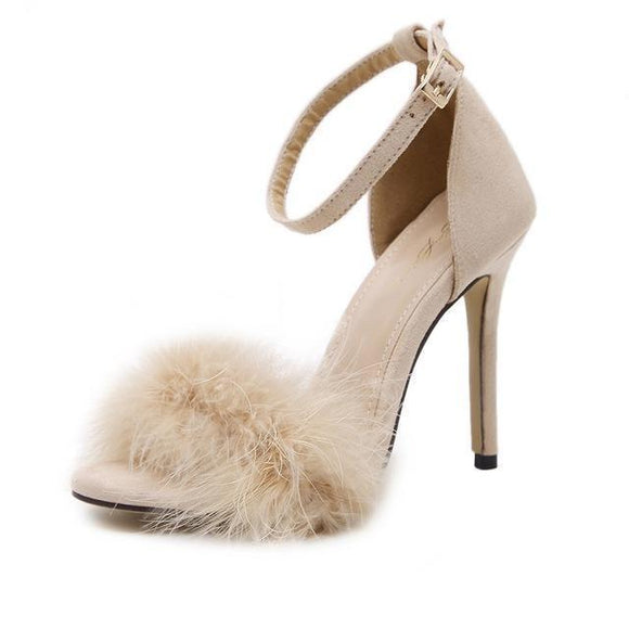Women's Shoes - Fuzzy Fur Peep Toe Ankle Strap High Heels