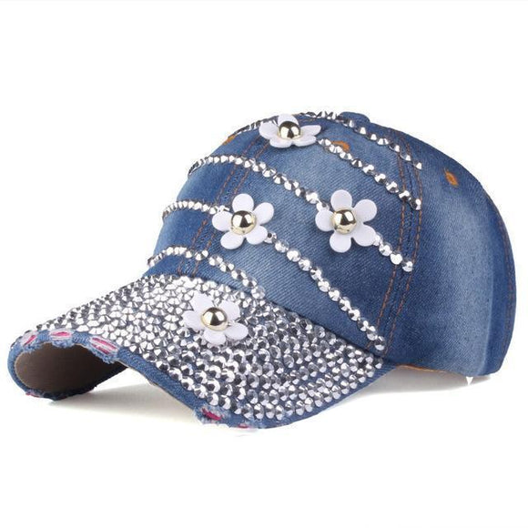 Hat - Adjustable Baseball Caps With Flowers And Rhinestone