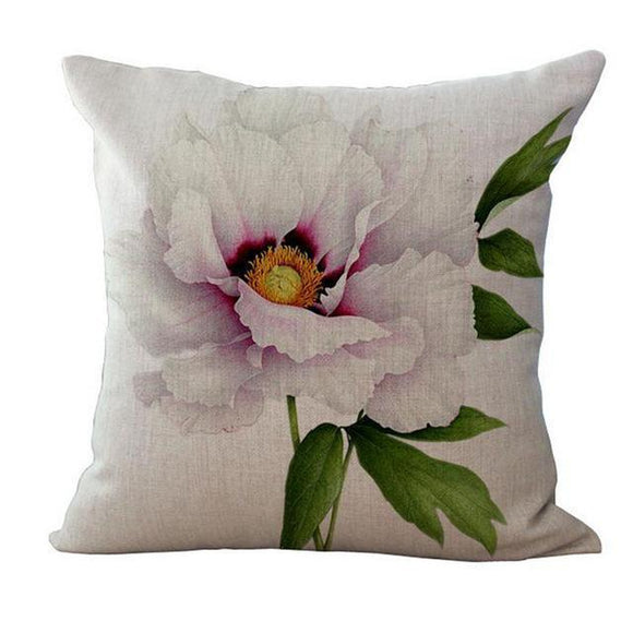 Pillowcase - Peony Printed Throw Pillowcases For Home Decor