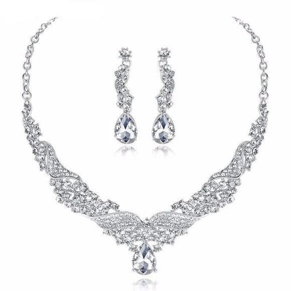 Bridal Jewelry Set - Crystal And Silver Angel Wings Jewelry Set