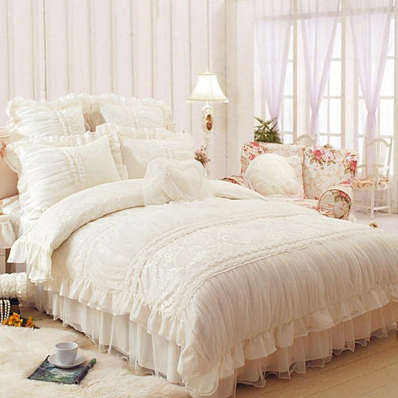 Comforter - Chic Royal Lace Ruffled Bed Set