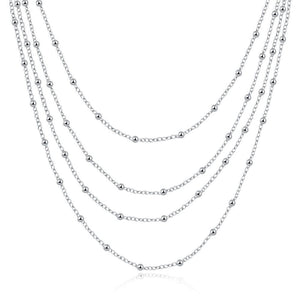 Necklace - Classic Four Layer Sterling Silver Necklace