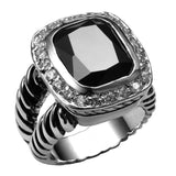 Women's Fashion Ring - Black Crystal Stone 925 Sterling Silver Ring For Women
