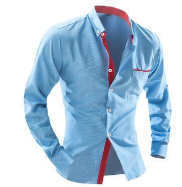 Men's Shirt - British Style Square Collar Long-Sleeved Shirt