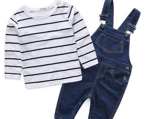 Baby Clothes - Newborn Long Sleeve T-shirt And Denim Overalls