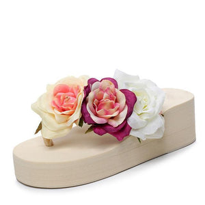 Flip Flops - Flower Platform Flip Flops Or Beach Sandals