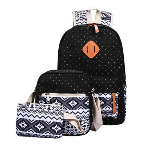 Backpack - Three (3) Piece Stylish Canvas School Bags
