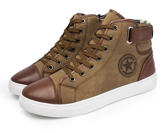 Men's Shoes - Vogue Lace-Up Ankle High Canvas