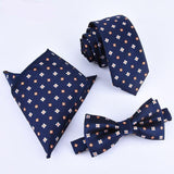 Bow-tie, Handkerchief, Necktie Set - Three (3) Piece Handkerchief, Butterfly Bow Tie And Necktie Set