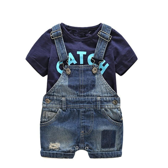 Baby Boy Clothes - Baby Boy Denim Overalls With T-shirt