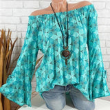Blouse - Slash Neck Flare Sleeve Chiffon Blouse
